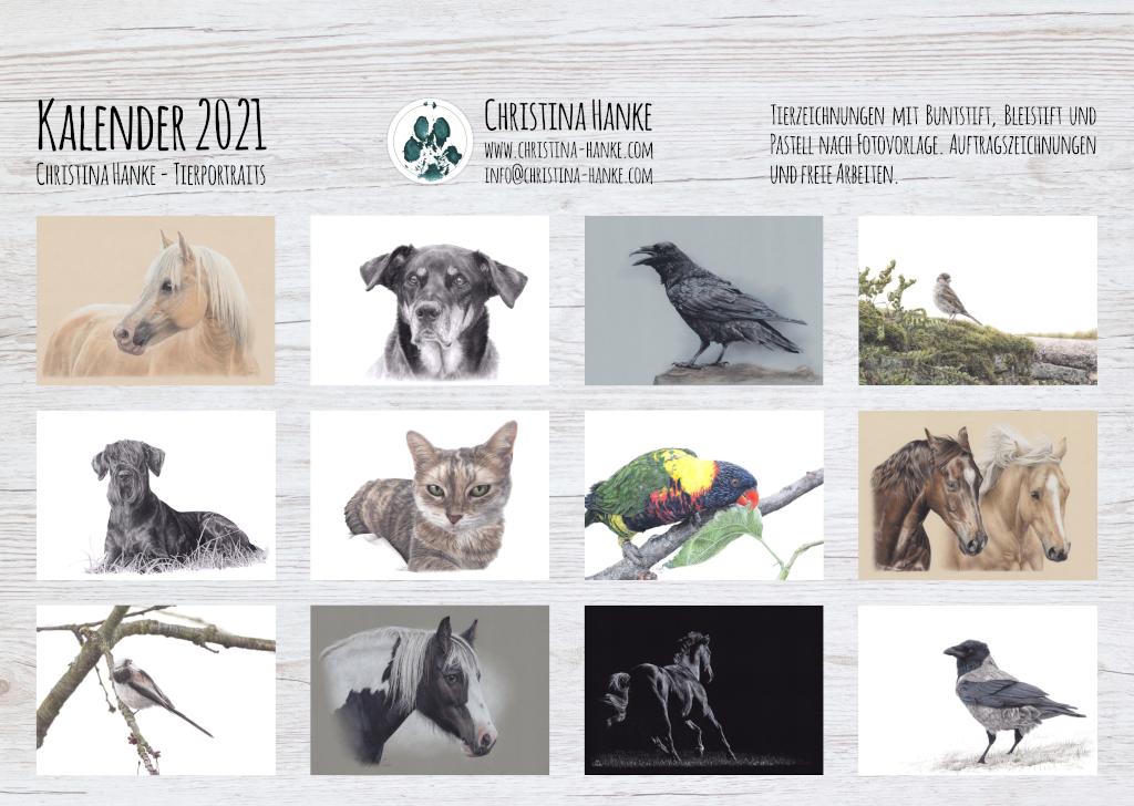 Kalender, Vorbestellung, Geschenk, Geschenkidee, Tierzeichnungen, Pferdezeichnung, Pferdeportrait, Tierkalender, Hundezeichnung, Hundeportrait, Vogelzeichnung, Wildlife